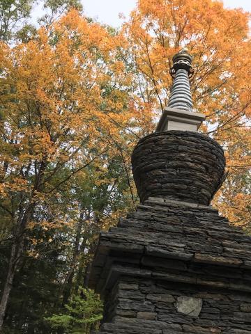 Stupa with fall leaves
