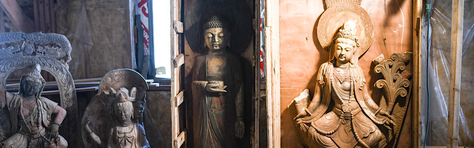 A collection of Buddha statues